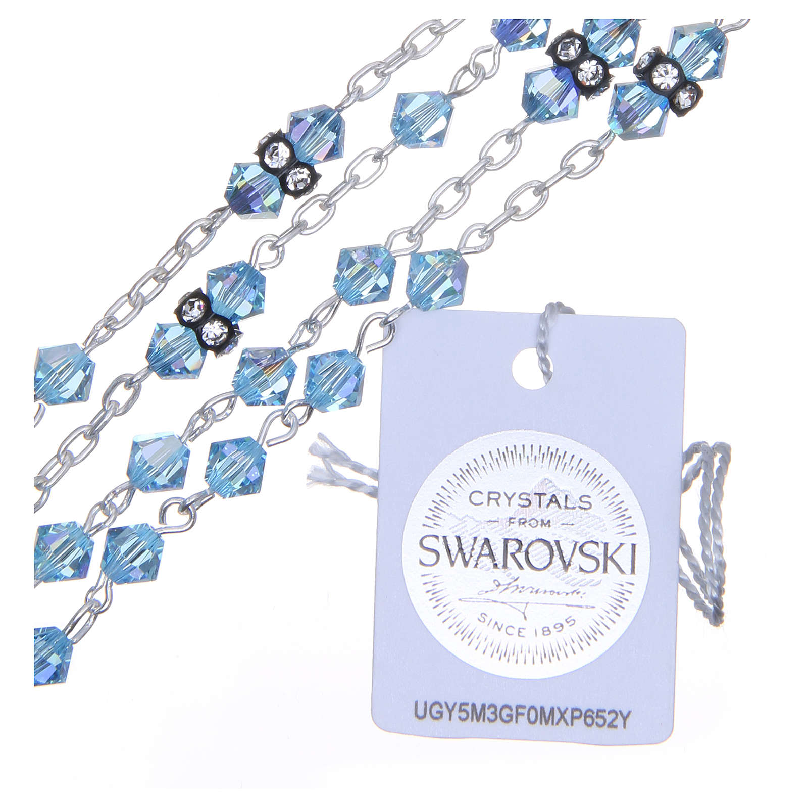 Silver rosary beads with Pater beads in sky blue Swarovski 5mm 4