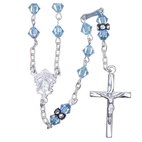 Silver rosary beads with Pater beads in sky blue Swarovski 5mm 1