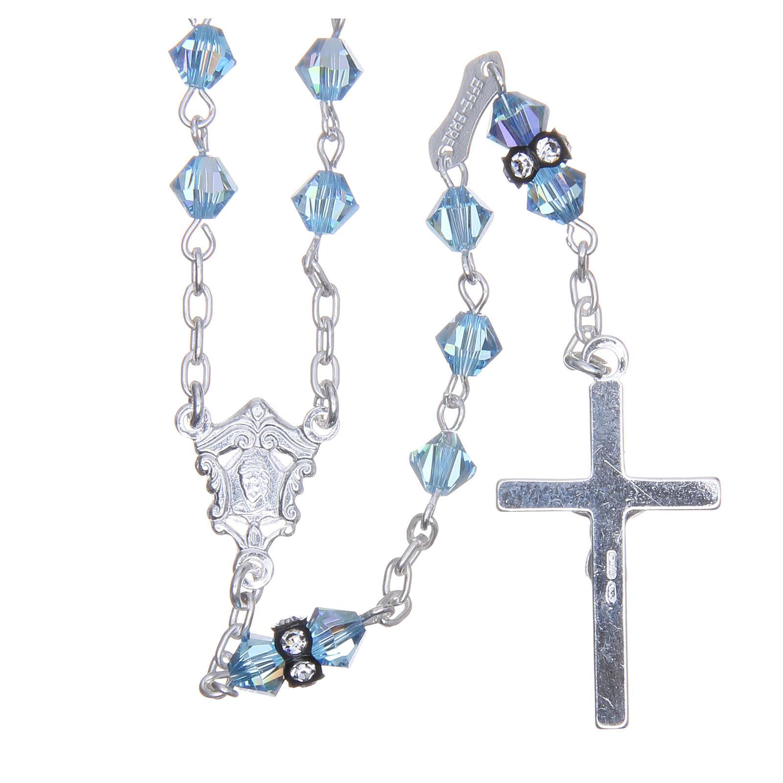 Chapelet argent 925 pater cristal Swarovski 5 mm bleu ciel 4