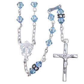 Chapelet argent 925 pater cristal Swarovski 5 mm bleu ciel s1
