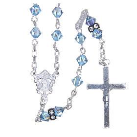 Chapelet argent 925 pater cristal Swarovski 5 mm bleu ciel s2