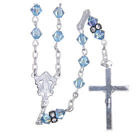 Silver rosary beads with Pater beads in sky blue Swarovski 5mm s2