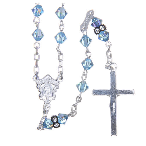 Silver rosary beads with Pater beads in sky blue Swarovski 5mm 2