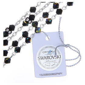 Silver rosary beads with Pater beads in black Swarovski 5mm s3