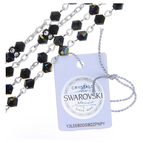 Silver rosary beads with Pater beads in black Swarovski 5mm 3