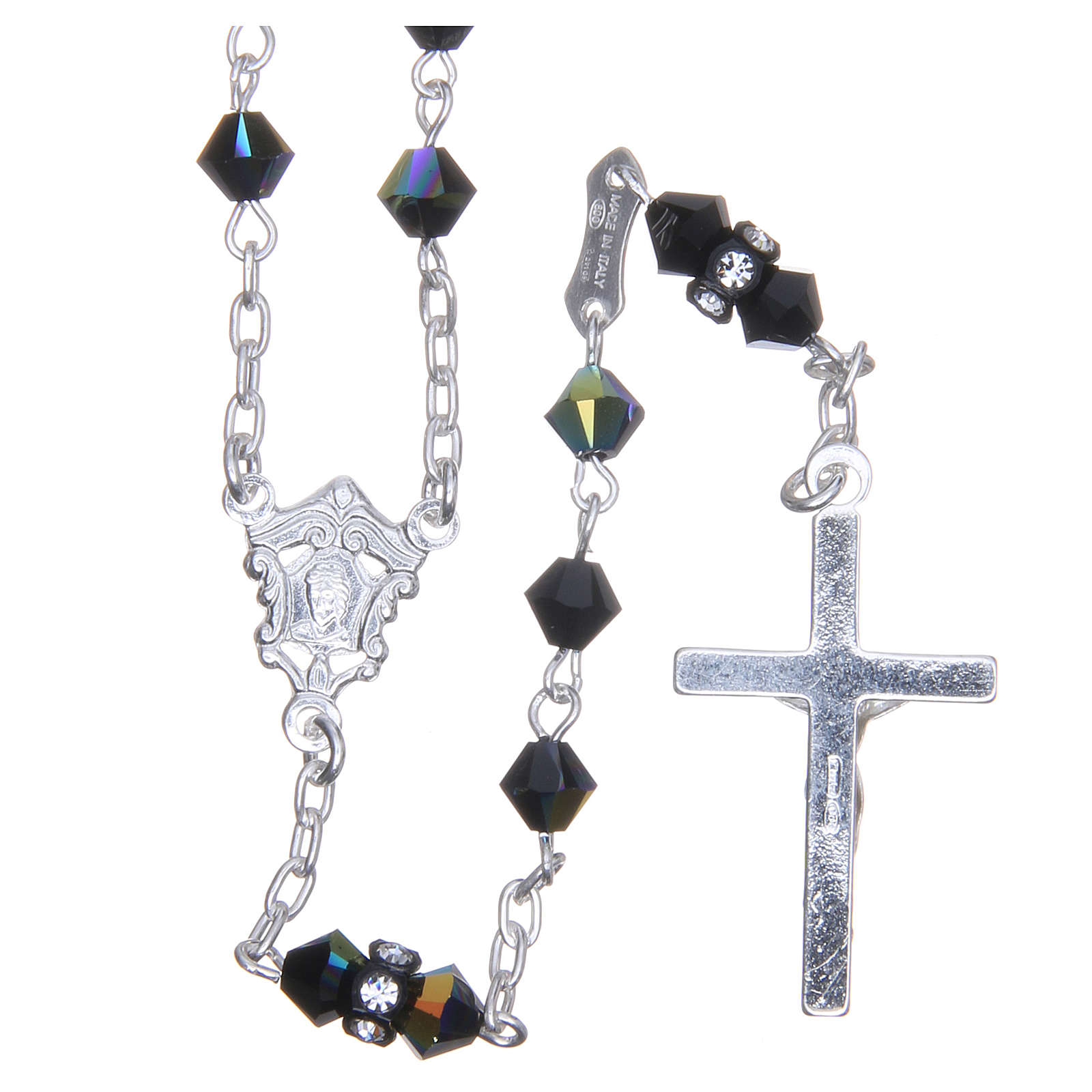 Silver rosary beads with Pater beads in black Swarovski 5mm 4