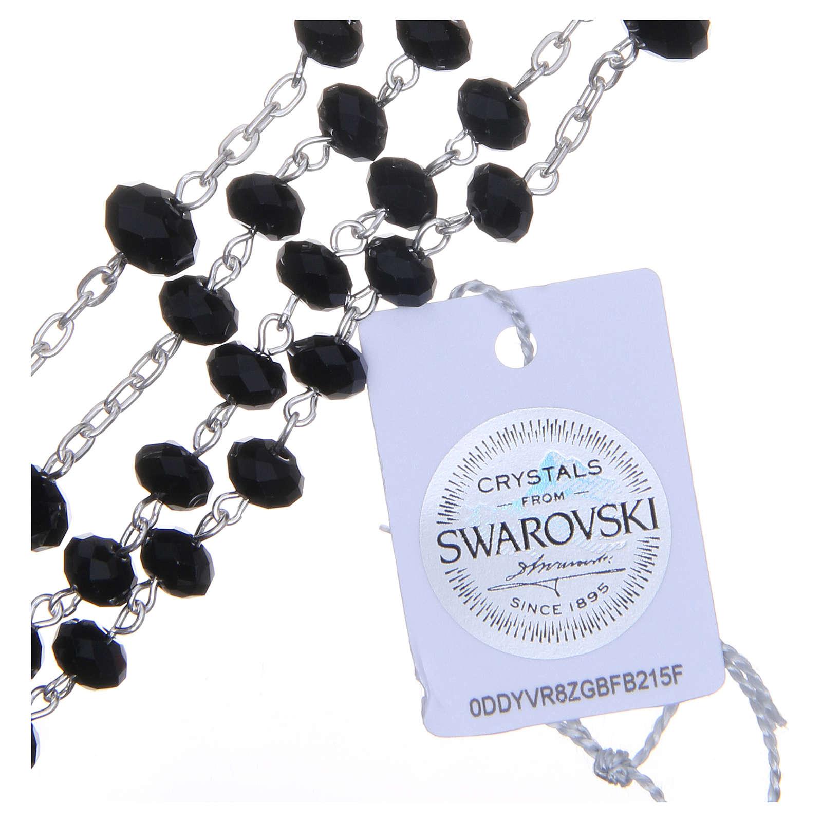 Rosario argento 800 cristallo Swarovski briolette 6 mm nero 4