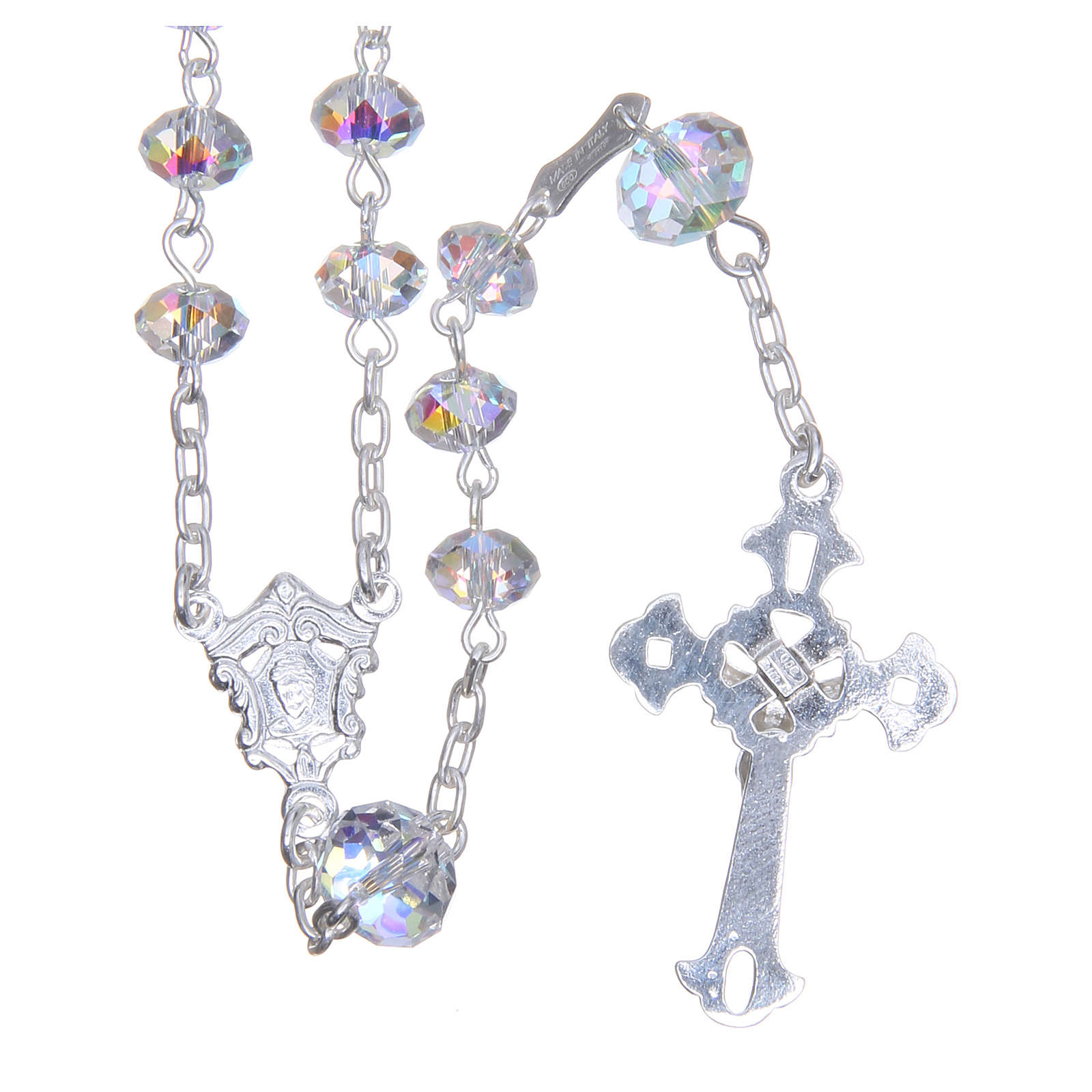 Silver rosary beads with white Swarovski briolette 6mm 4