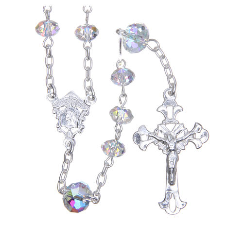 Silver rosary beads with white Swarovski briolette 6mm 1