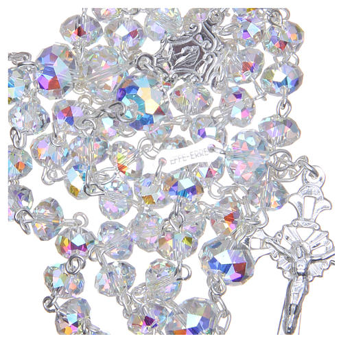 Chapelet argent 800 cristal Swarovski briolette 6 mm blanc 4