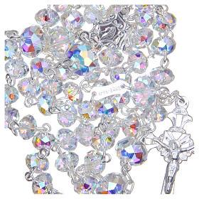 Rosario argento 800 cristallo Swarovski briolette 6 mm bianco s4