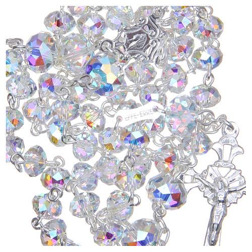 Rosario argento 800 cristallo Swarovski briolette 6 mm bianco 4