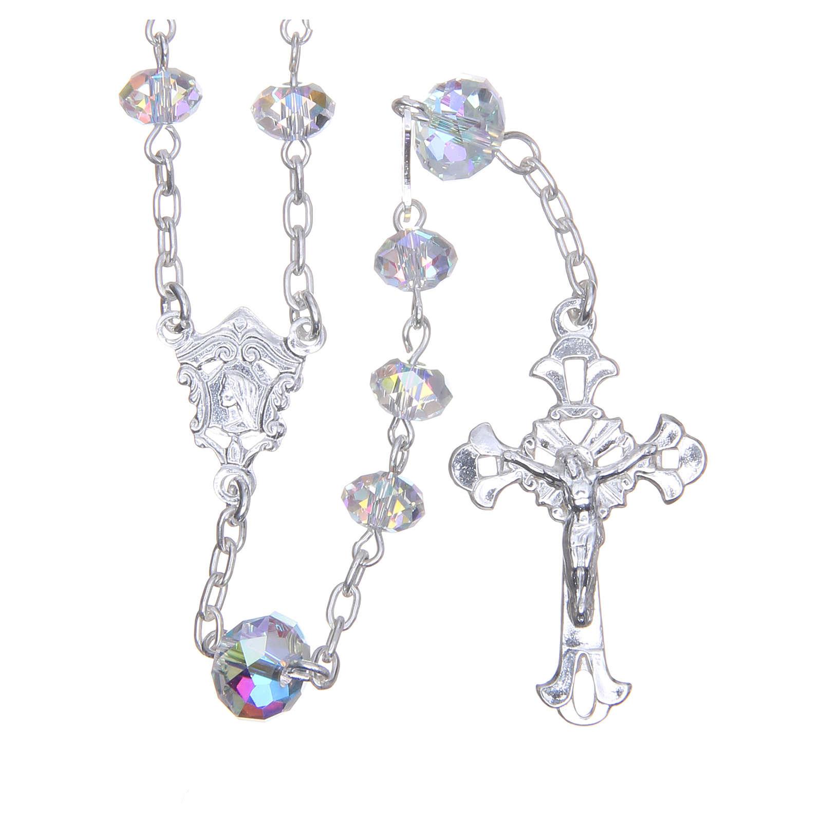Silver rosary beads with white Swarovski briolette 6mm 4
