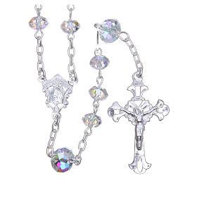 Silver rosary beads with white Swarovski briolette 6mm s1