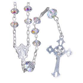 Silver rosary beads with white Swarovski briolette 6mm s2
