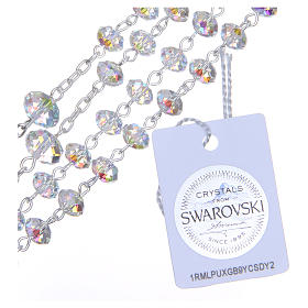 Silver rosary beads with white Swarovski briolette 6mm s3