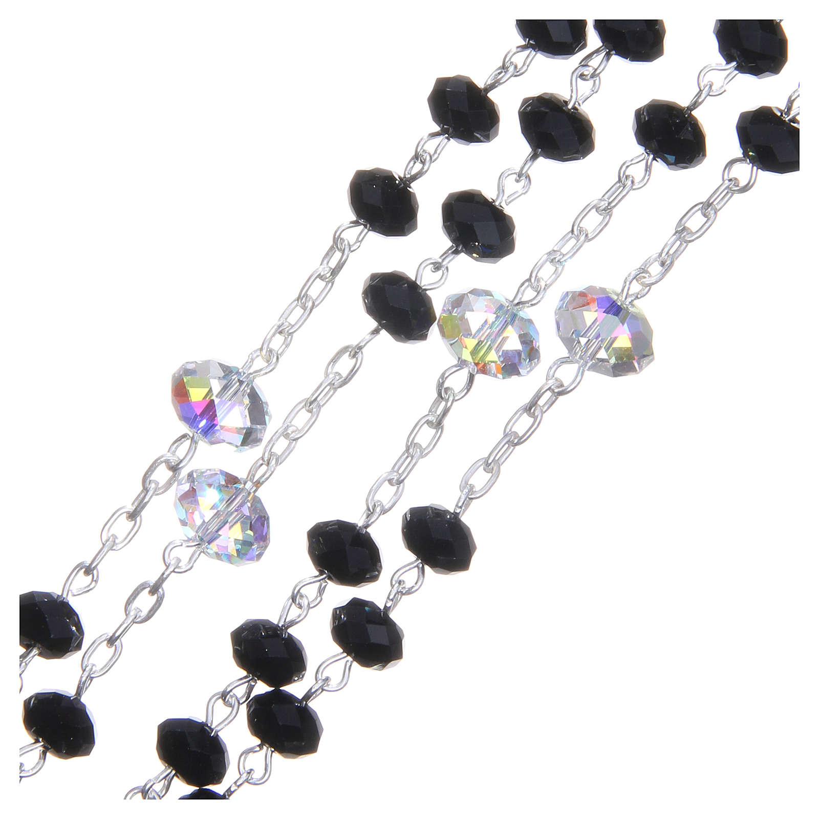 Silver rosary beads with black and white Swarovski briolette 6mm 4