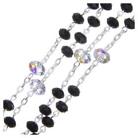 Silver rosary beads with black and white Swarovski briolette 6mm s3