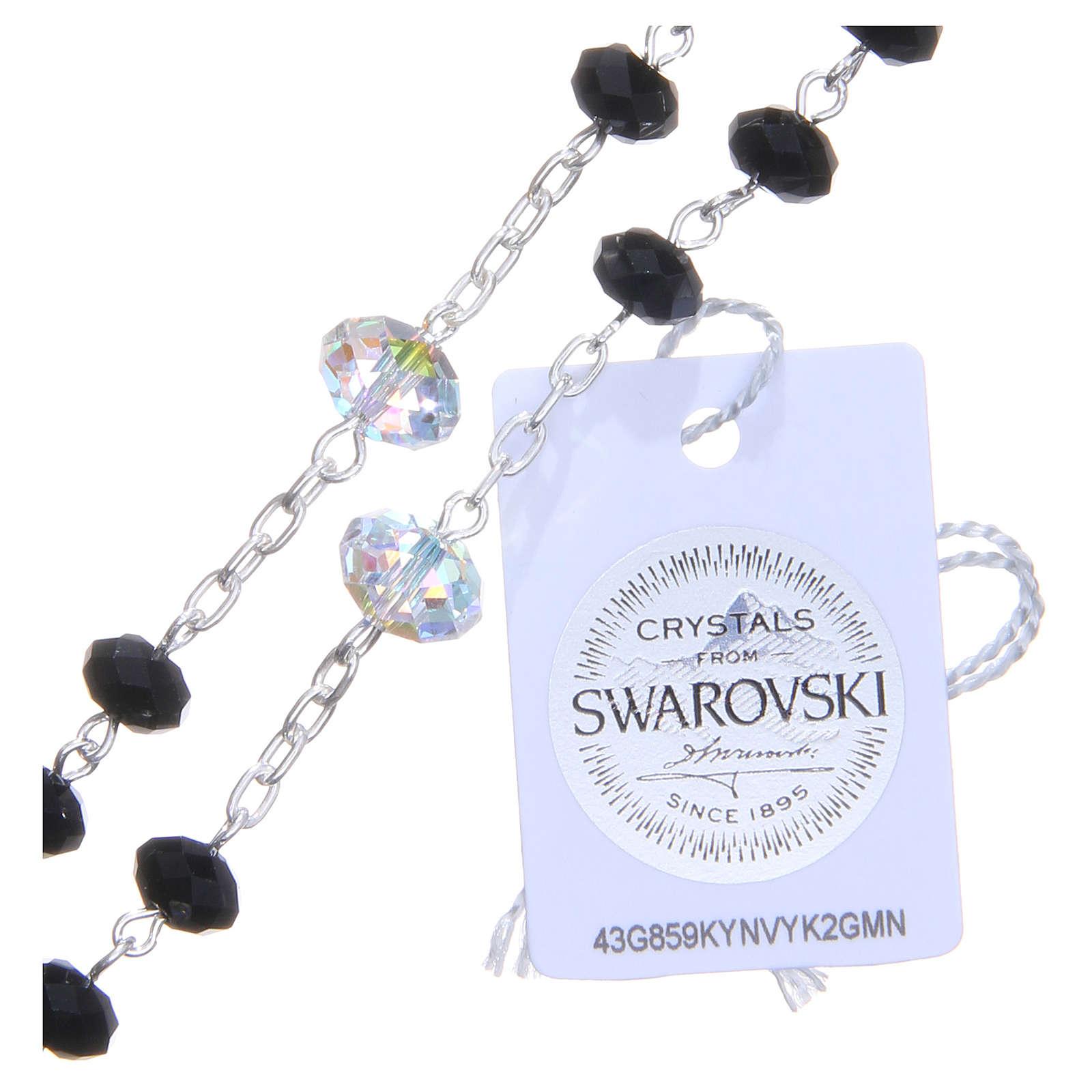 Rosario argento 925 cristallo Swarovski briolette 6 mm nero/bianco 4