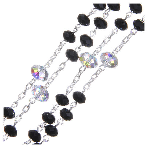 Silver rosary beads with black and white Swarovski briolette 6mm 3