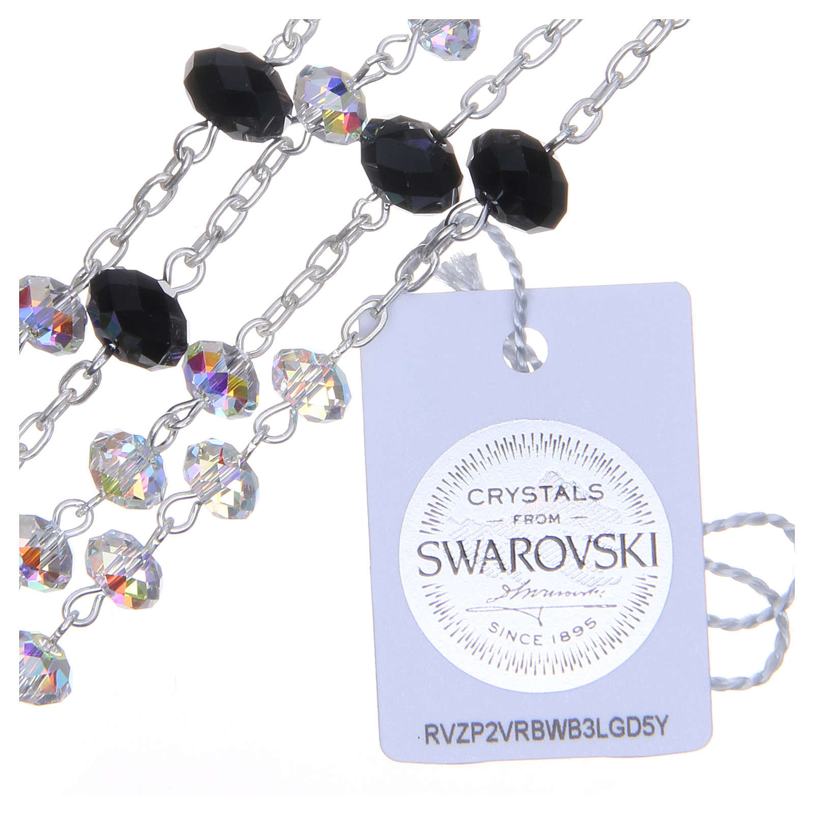 800 Silver rosary beads with black and white Swarovski briolette 6mm 4