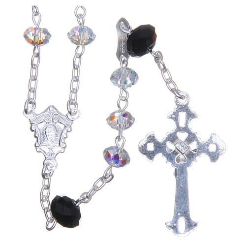 800 Silver rosary beads with black and white Swarovski briolette 6mm 2