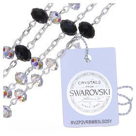 Rosario argento 800 cristallo Swarovski briolette 6 mm bianco/nero s3