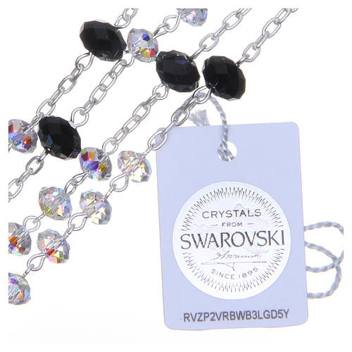 925 Silver rosary beads with black and white Swarovski briolette 6mm 3