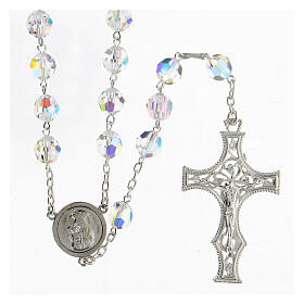 925 Silver rosary beads with Swarovski crystals measuring 8mm s1