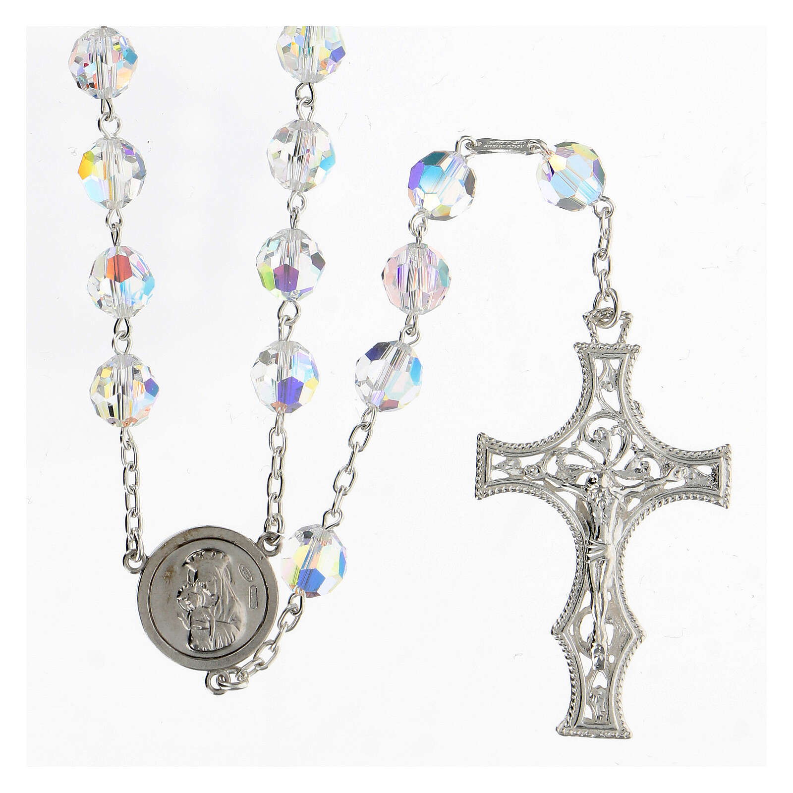 925 Silver rosary beads with Swarovski crystals measuring 8mm 4