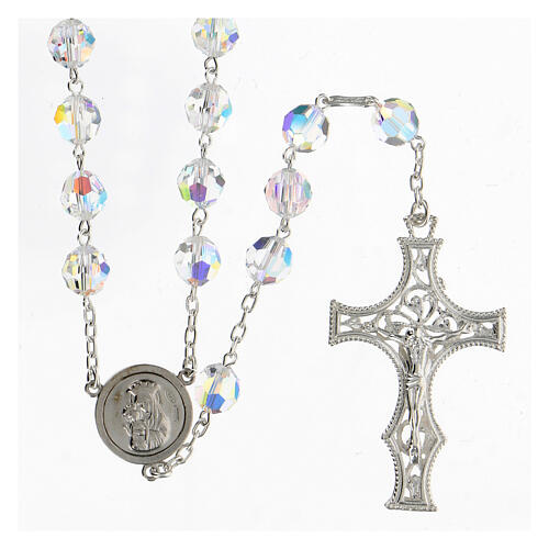 925 Silver rosary beads with Swarovski crystals measuring 8mm 1