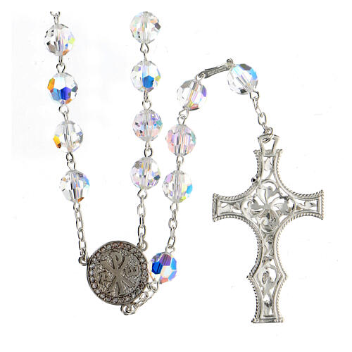 925 Silver rosary beads with Swarovski crystals measuring 8mm 2