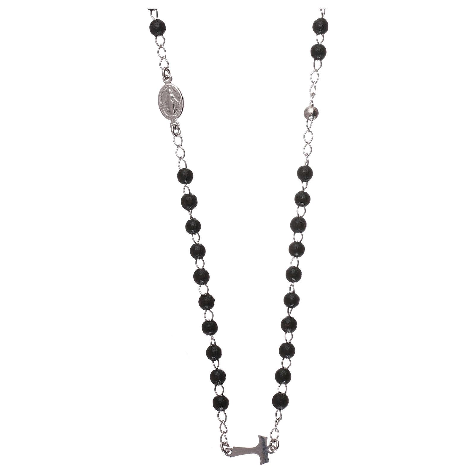 Silver tau rosary collier black wood pearls AMEN 4