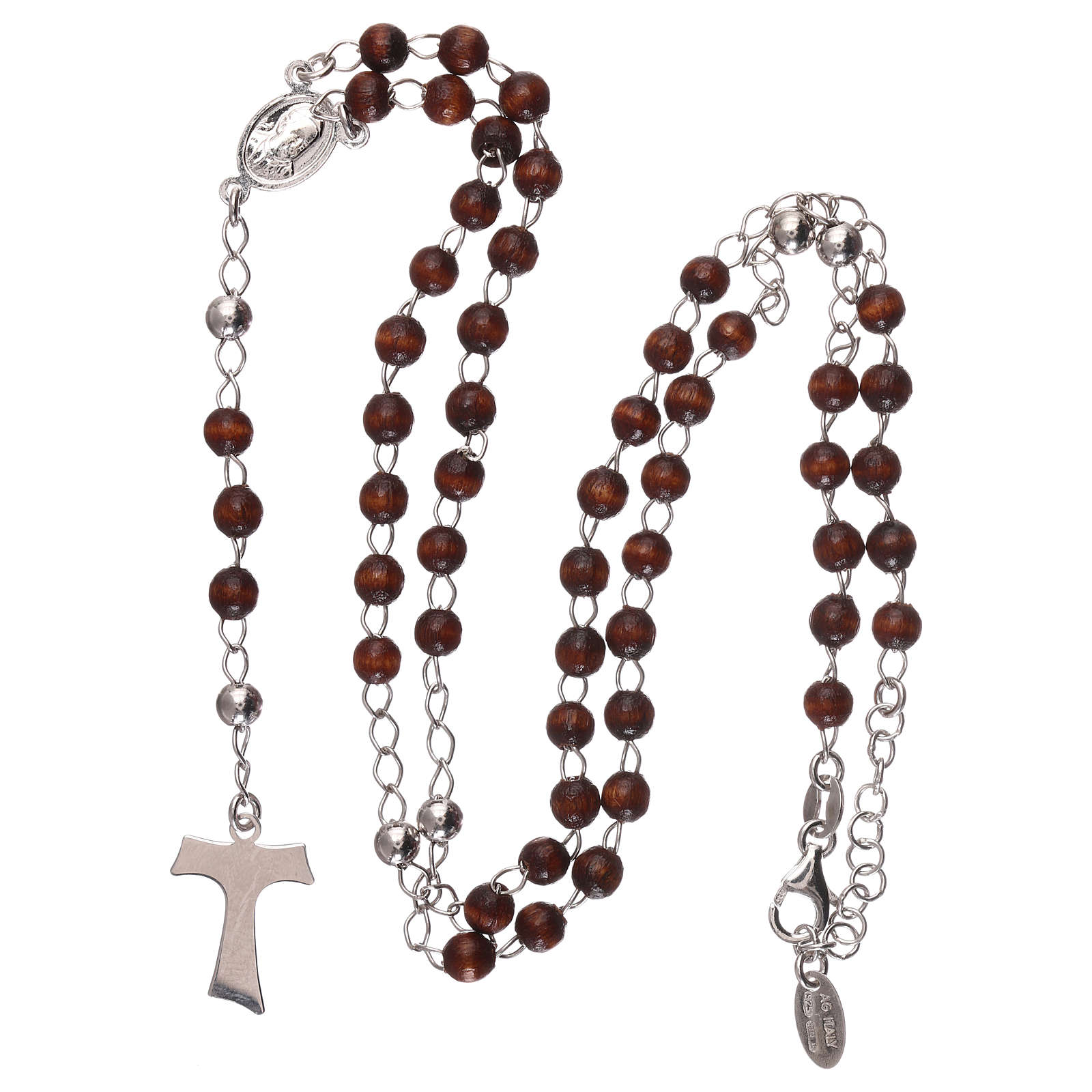 Rosary AMEN Tau classic silver 925 wood, brown 4