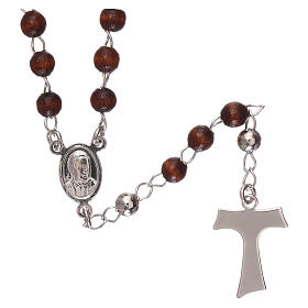 Rosary AMEN Tau classic silver 925 wood, brown s2