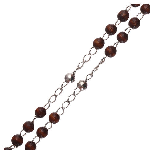 Rosary AMEN Tau classic silver 925 wood, brown 3