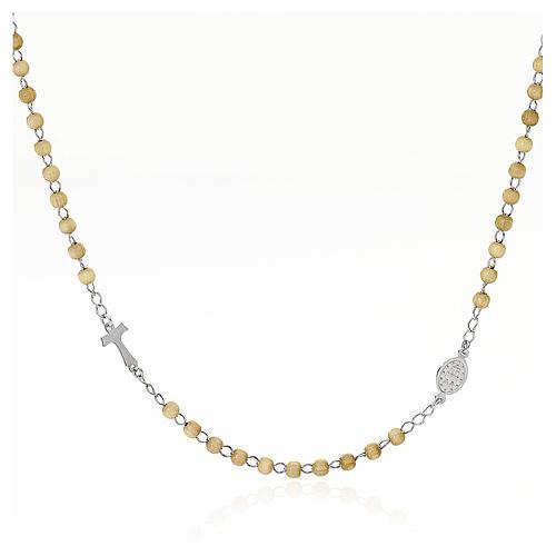 Silver tau rosary collier wood pearls AMEN 1