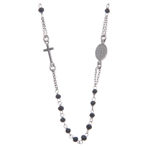 Rosario girocollo colore nero argento 925 2