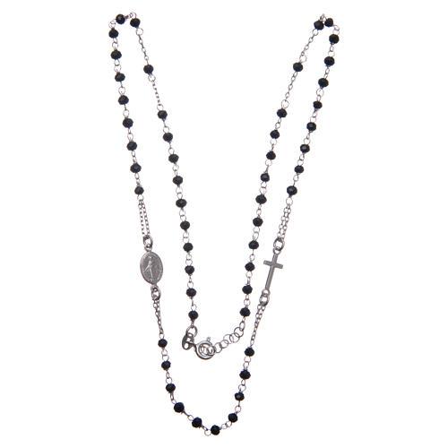 Rosario girocollo colore nero argento 925 3