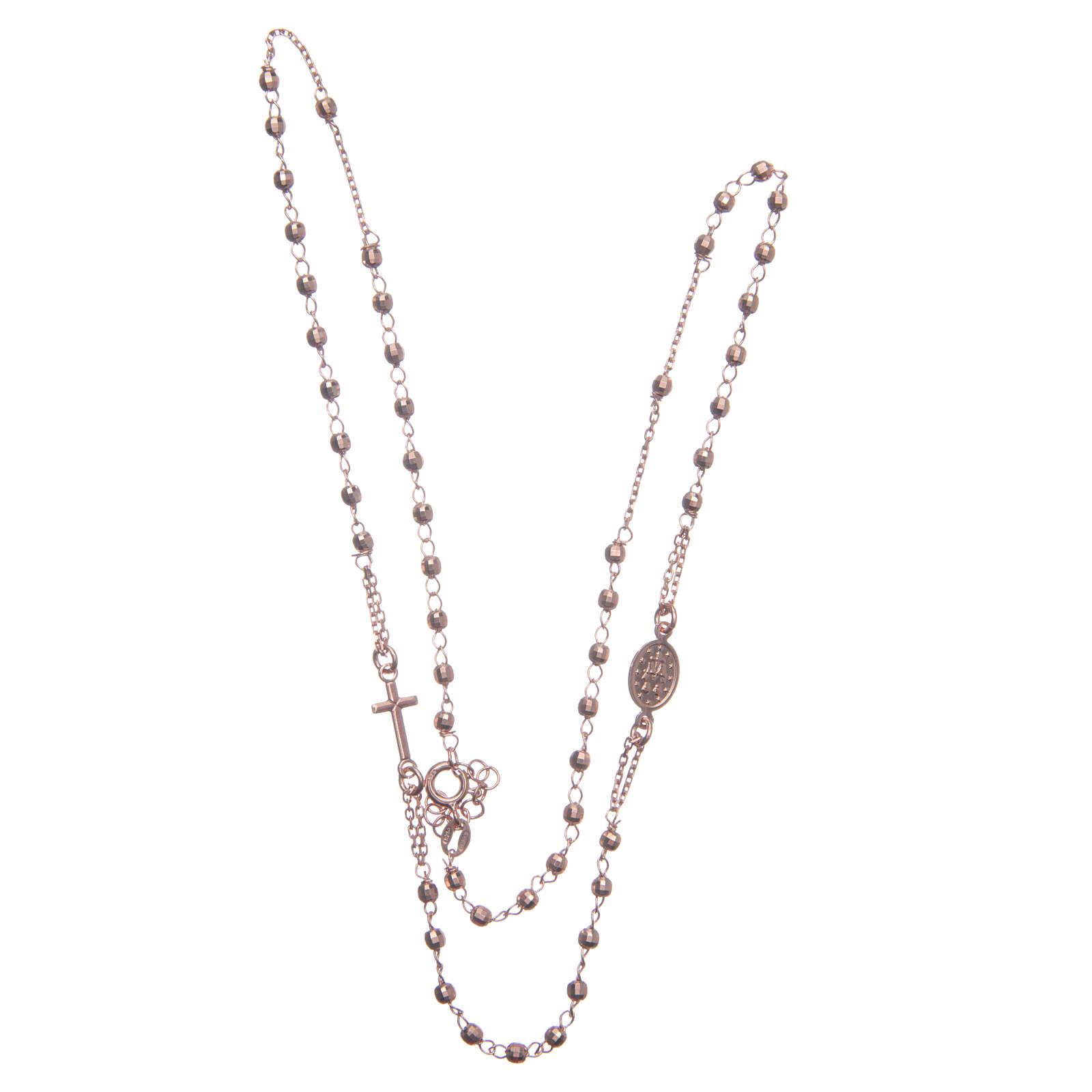 Rosario girocollo colore rosé argento 925 4