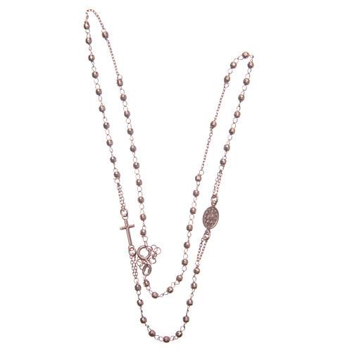 Rosario girocollo colore rosé argento 925 3