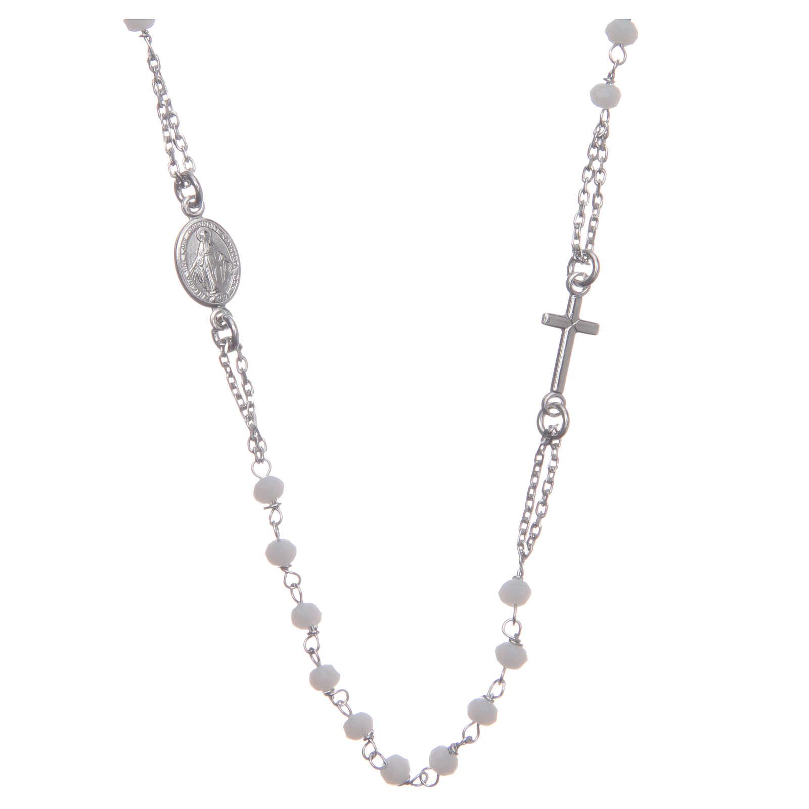 Rosario girocollo colore bianco argento 925 4