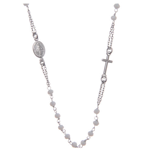 Rosario girocollo colore bianco argento 925 1
