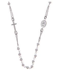 Classic rosary choker white in 925 sterling silver s2