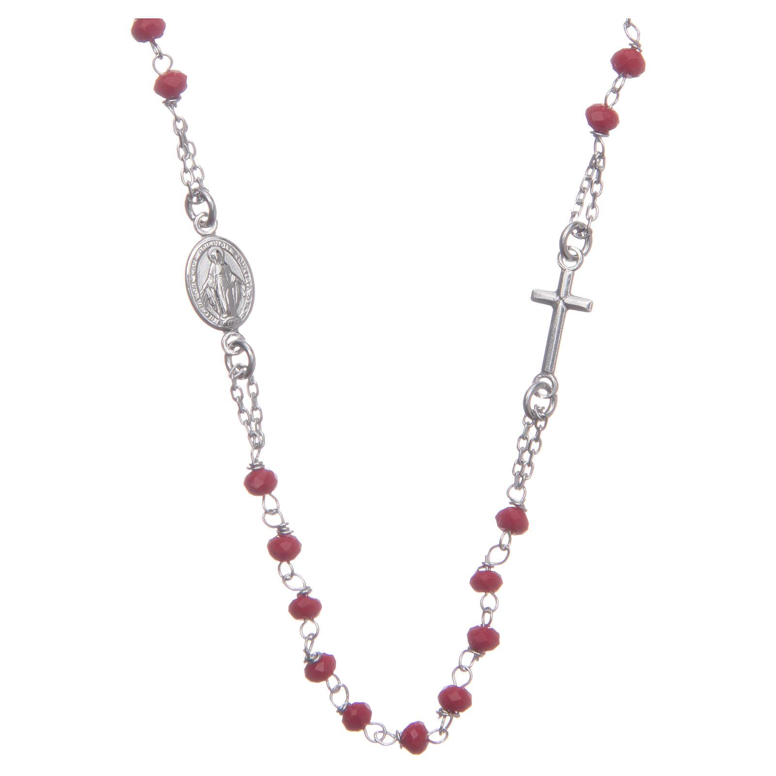 Rosario girocollo colore rosso argento 925 4