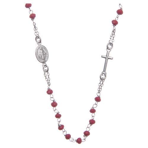 Rosario girocollo colore rosso argento 925 1