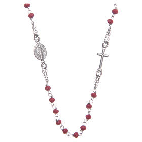Classic rosary choker red in 925 sterling silver s1