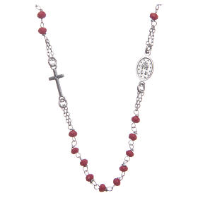 Classic rosary choker red in 925 sterling silver s2