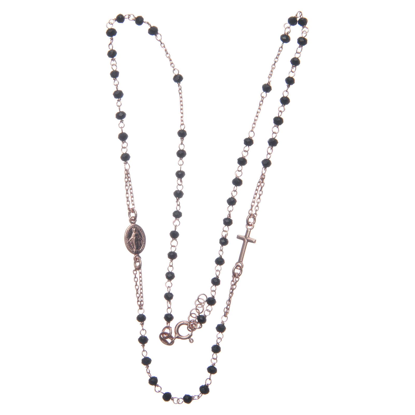 Rosario girocollo colore rosé e nero argento 925 4