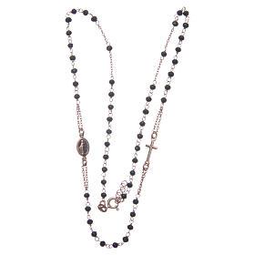 Rosario girocollo colore rosé e nero argento 925 s3